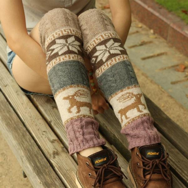 Warmers Cable Knit Knitted Crochet High Long Socks Leggings