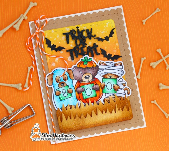 Halloween Card by Ellen Haxelmans | Halloween Trio Stamp Set and Die Set by Newton's Nook Designs #newtonsnook #handmade