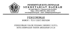Pengumuman Formasi CPNS Provinsi Bali Semua Kabupaten dan Kota 2019