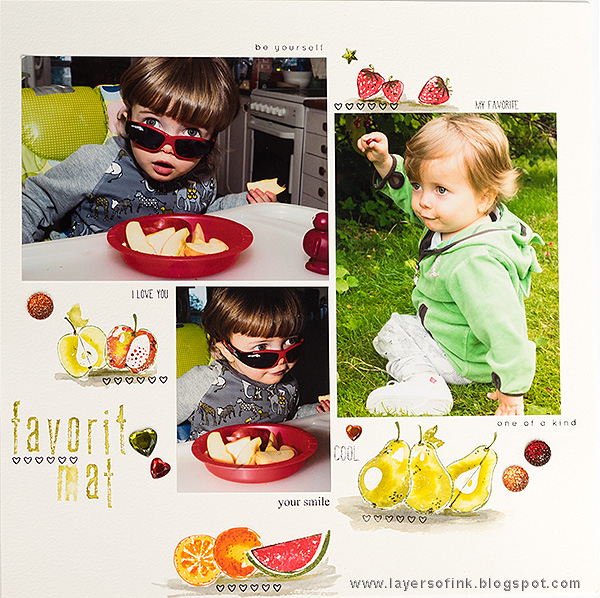 Layers of ink - Fruity Favorites Layout by Anna-Karin with Simon Says Stamp Artsy Fruits