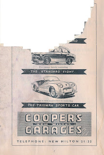 Coopers Garages advert from Ibsley race program 30 April 1955