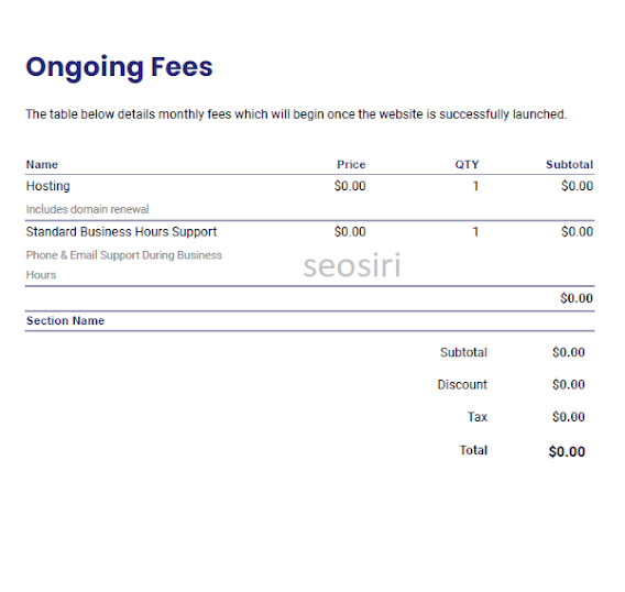 Ongoing Fees in a website development