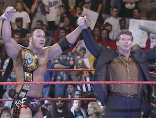 WWE / WWF Survivor Series 1998 Deadly Game - Vince McMahon celebrates with new WWF Champion The Rock
