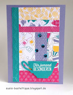 Patchwork karte aus Papier mit stampin up designerpapier noch ein tässchen und Prägeform honigwaben in bermuda, blauregen, aquamarin, wassermelone und currygelb
