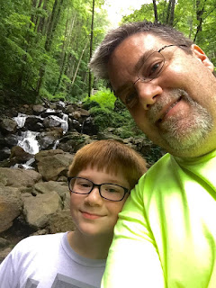 A photo of David Brodosi and his son on the Appalachian Trail