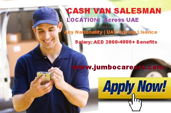 Van sales man job in Dubai. van sales man in Dubai salary.