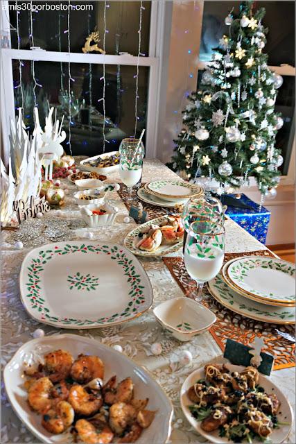 Mesa de Nuestra Primera Nochebuena en New Hampshire