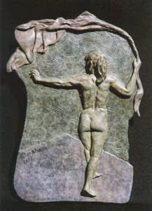 Rehearsal, bronze bas-relief sculpture