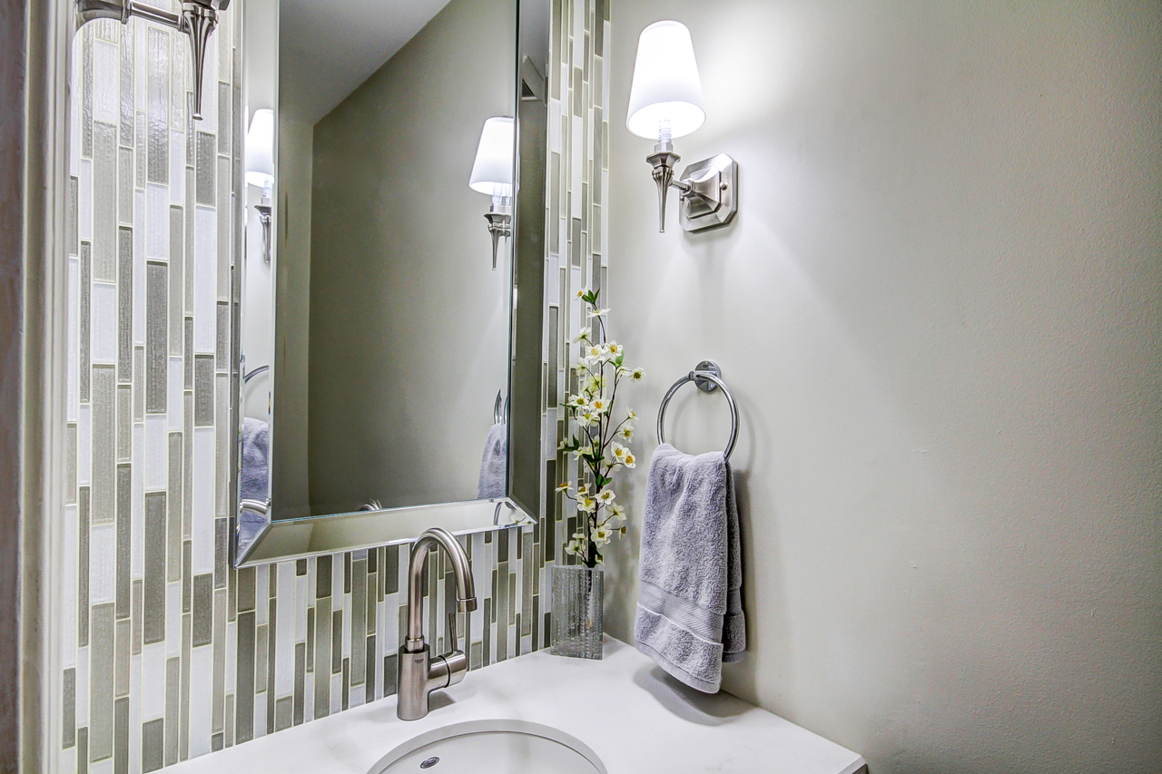 Monarch Kitchen Bath Centre Mosaic Tiles Make A Big Impact In This Small Powder Room