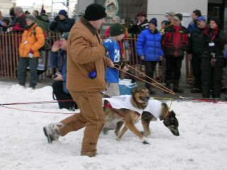 David Brodosi and family checking out the Iditarod race events in Alaska with dogs
