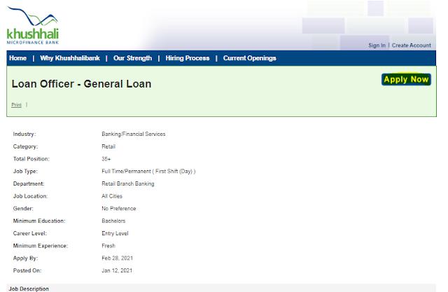 Khushhali Bank Jobs 2021 - Online Apply