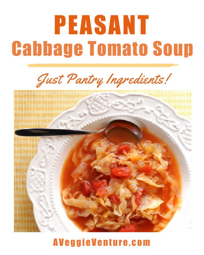 Peasant Cabbage-Tomato Soup, another healthy soup ♥ AVeggieVenture.com, just a handful of pantry ingredients. Vegan. Weight Watchers Friendly. Gluten Free. Whole30 Friendly.
