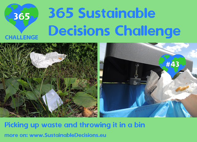 Picking up waste and throwing it in a bin cleaning environment