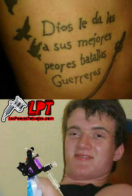"Tatuaje fail frase ""Dios le da las a sus mejores peores batalllas guerreros"""