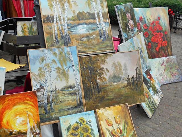 obrazy, brzozy, słoneczniki, twórczość ludowa