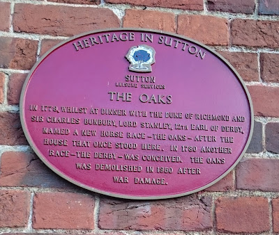 Plaque on wall of stables, The Oaks © A Knowles (2016)