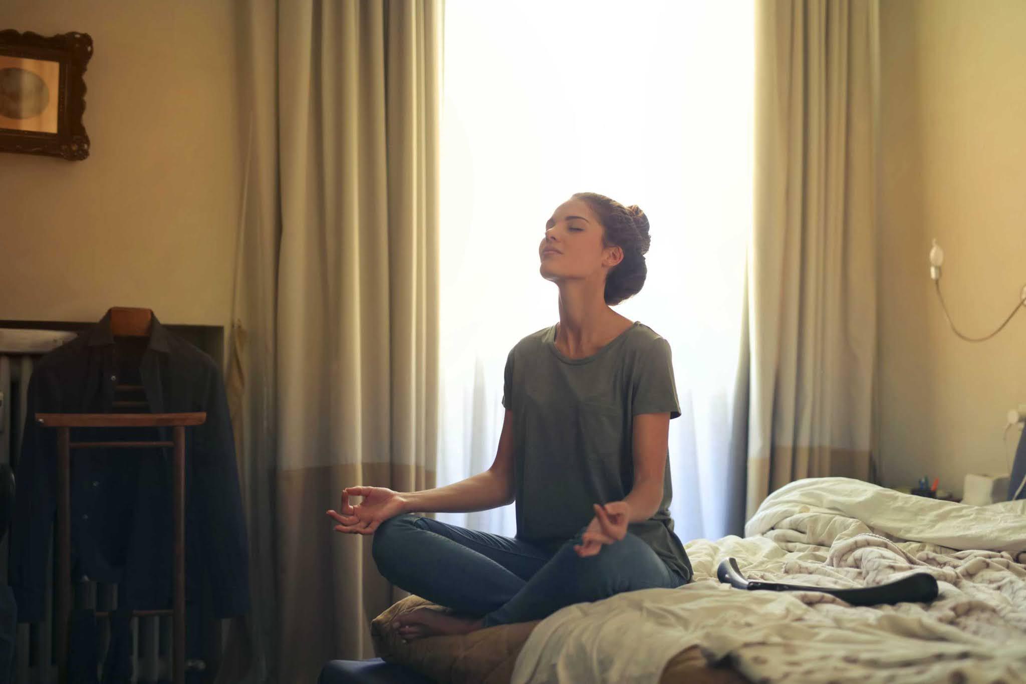 someone meditating
