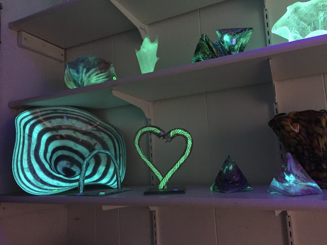 Glow in the dark glass art at Patterson Glassworks in Mundelein, Illinois