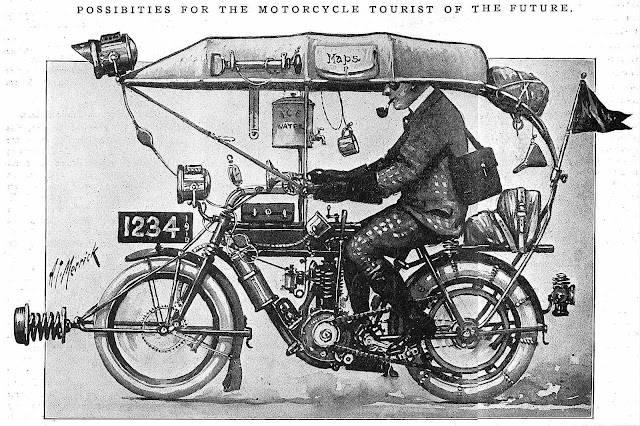 a 1910 cartoon, Possibilities for the motorcycle tourist of the future