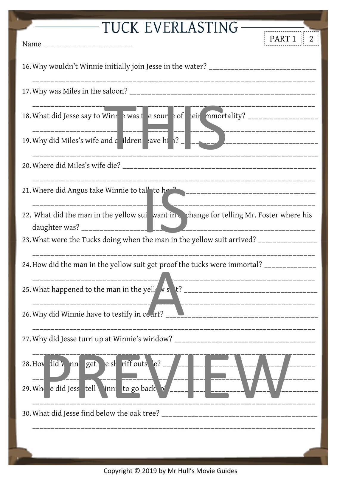 Tuck Everlasting Movie Guide + Activities - Answer Keys ...