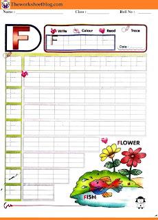 Alphabet F tracing worksheet
