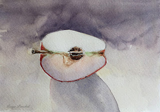 Still life, water color painting of a slice of apple by Indian artist Manju Panchal