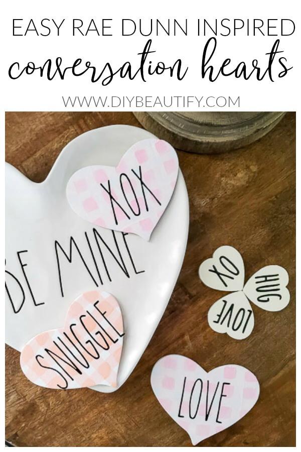 DIY Rae Dunn conversation hearts