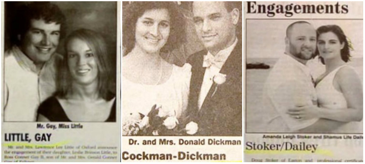 Wedding Announcements Newspaper.22 Funny Wedding Announcement Name Combos On