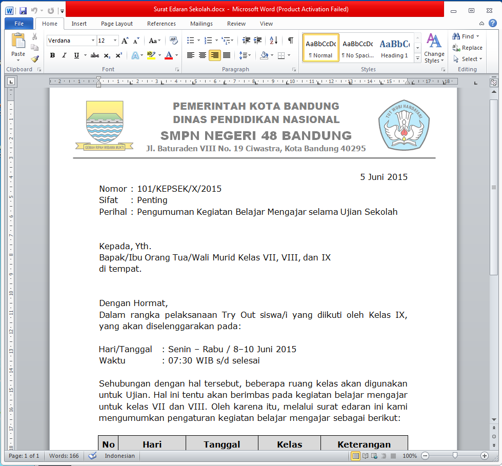 Contoh Format Surat Edaran Docx