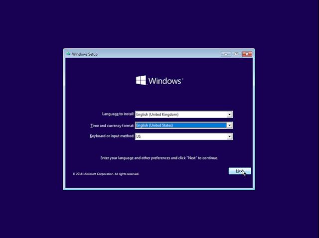 Setting Keyboard Install Windows 10
