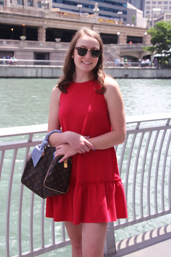 Gimme Glamour: Red, white & blue in the city. Patriotic preppy look on the Chicago River. Drop waist dress, Louis Vuitton Speedy 25 with gingham scarf.