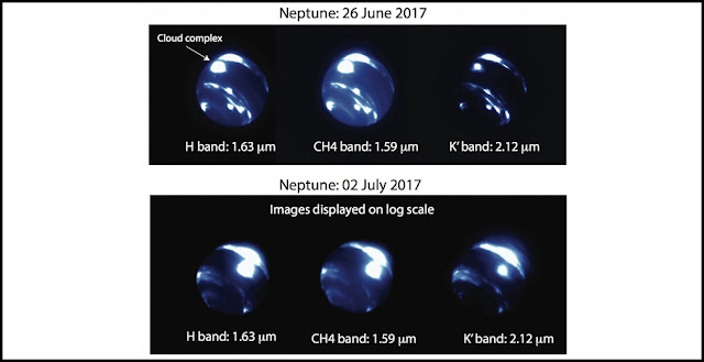 Images of Neptune taken during twilight observing revealed an extremely large bright storm system near Neptune's equator (labeled 'cloud complex' in the upper figure), a region where astronomers have never seen a bright cloud. The center of the storm complex is ~9,000 km across, about 3/4 the size of Earth, or 1/3 of Neptune's radius. The storm brightened considerably between June 26 and July 2, as noted in the logarithmic scale of the images taken on July 2. Credit: N. MOLTER/I. DE PATER, UC BERKELEY/C. ALVAREZ, W. M. KECK OBSERVATORY