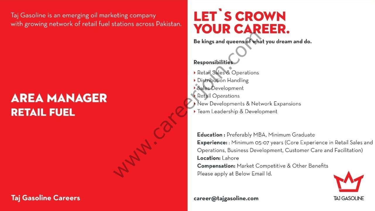 Taj Gasoline Pvt Ltd Jobs Area Manager Retail Fuel