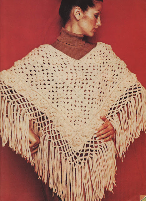The Vintage Pattern Files: 1970s Free Crochet Pattern - Fringed Poncho