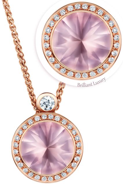 Andrew Geoghegan romantic pink 3.5ct rose quartz diamond pendant necklace #brilliantluxury