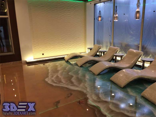 3d epoxy floor, 3d flooring, 3d beach floor art for living room