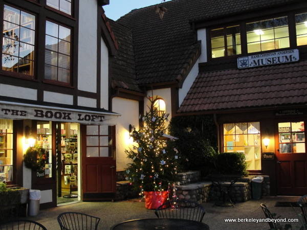 Julefest Christmas tree in courtyard in Solvang, California