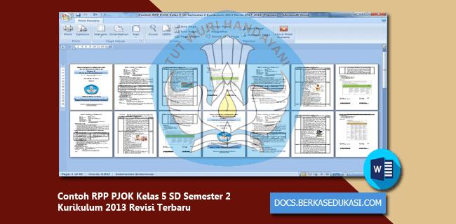 Contoh RPP PJOK Kelas 5 SD Semester 2 Kurikulum 2013 Revisi 2019-2020