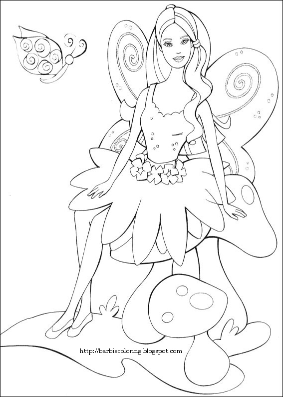 BARBIE COLORING PAGES: BARBIE AS A FAIRY COLORING PAGE