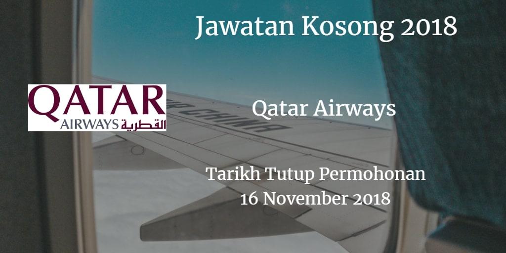 Jawatan Kosong Qatar Airways 16 November 2018