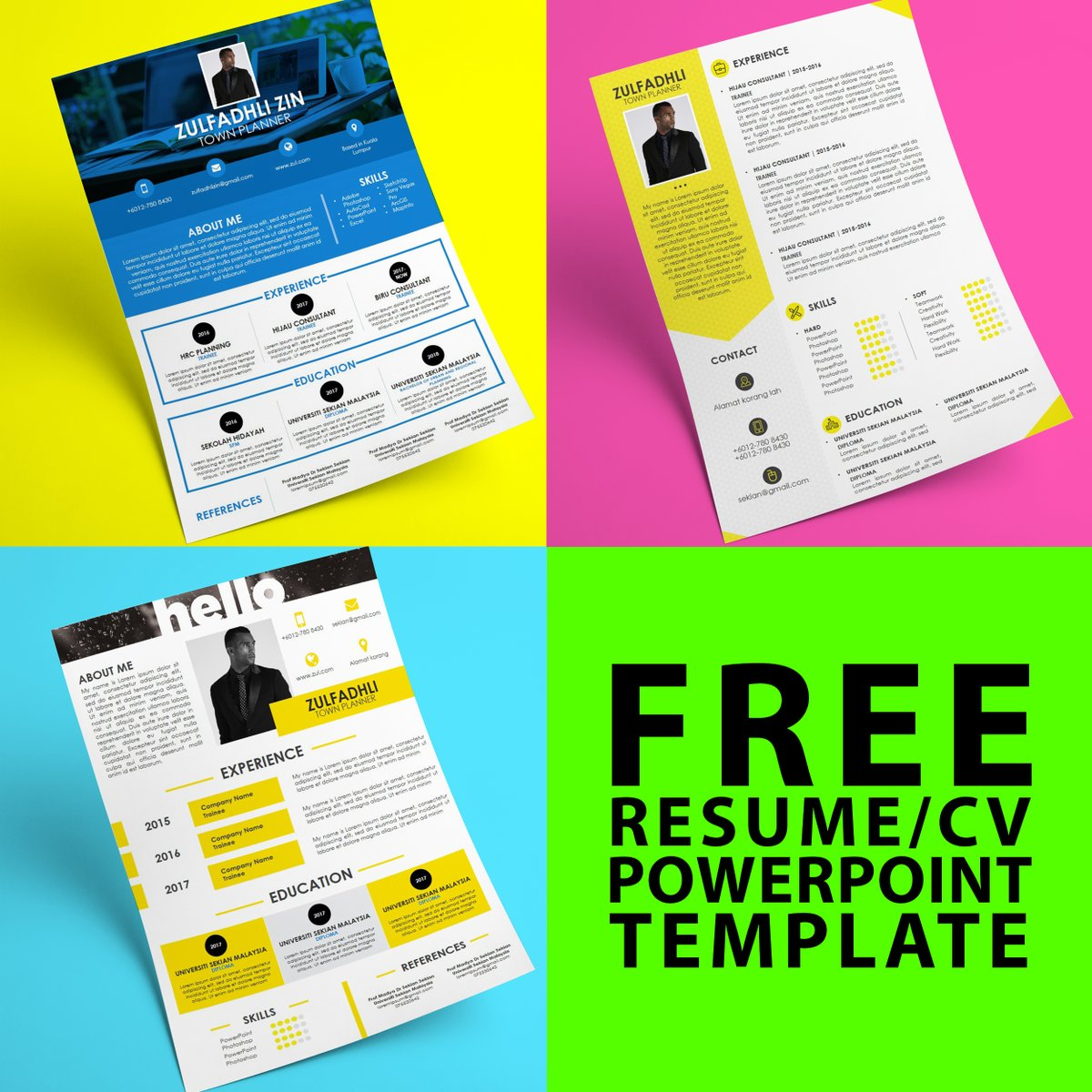 free resume  cv powerpoint template
