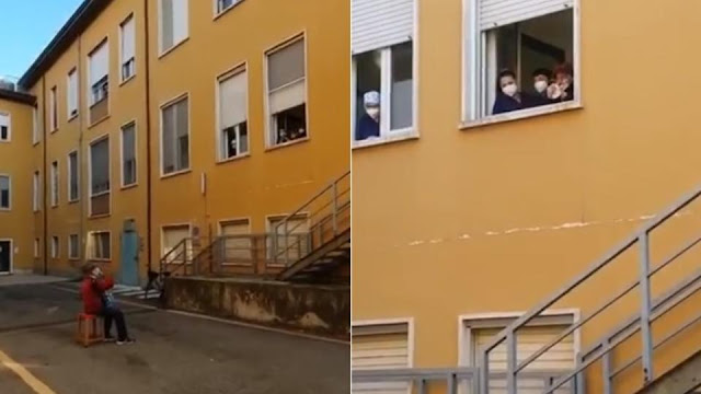 Дедушка не попал в больницу к жене из-за коронавируса и сыграл ей серенаду под окном
