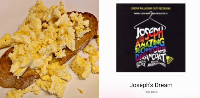 Scrambled egg on toast and music on my phone