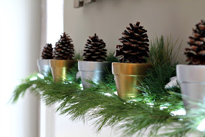 glitter pinecones with painted flower pots - Turtles and Tails blog