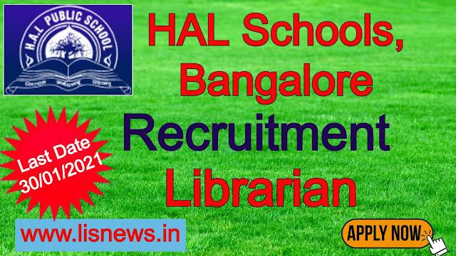 Librarian at HAL Schools (CBSE/ICSE), Bangalore