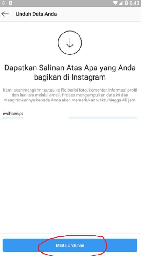 Klik Minta Unduhan di Instagram