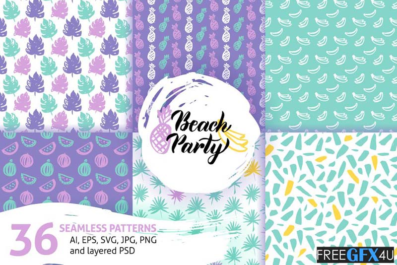 Trendy Summer Seamless Patterns Pack