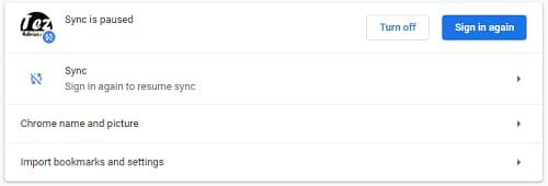 Sync option of chrome settings