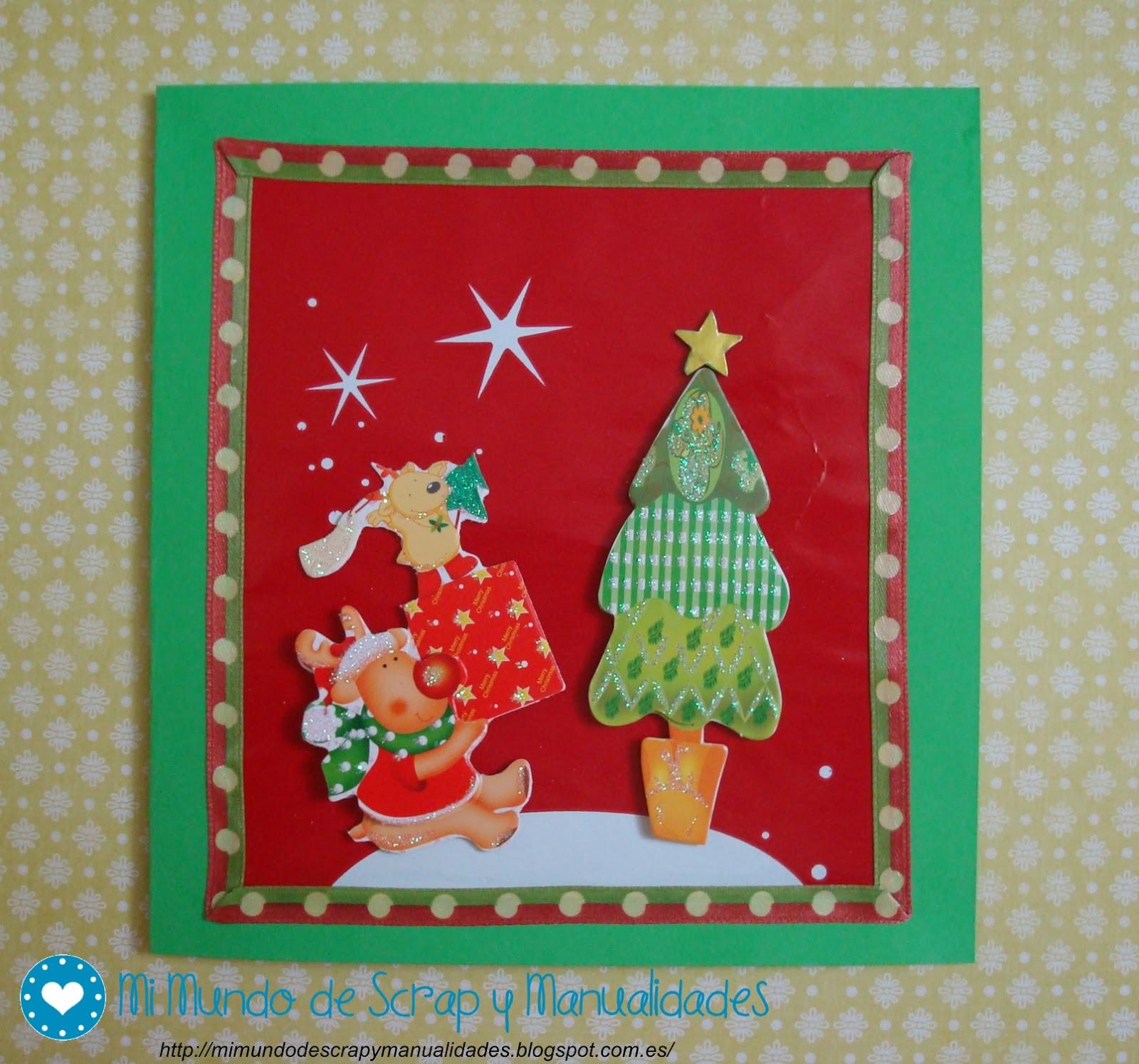 Mi mundo de scrap y manualidades postal de navidad 8 - Tarjeta navidad manualidades ...