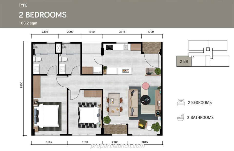 Denah Lantai Apartemen Lloyd Tipe 2 Bedroom